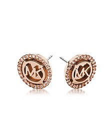 Heritage PVD Rose Goldtone Stainless Earrings w/Crystals - Michael Kors