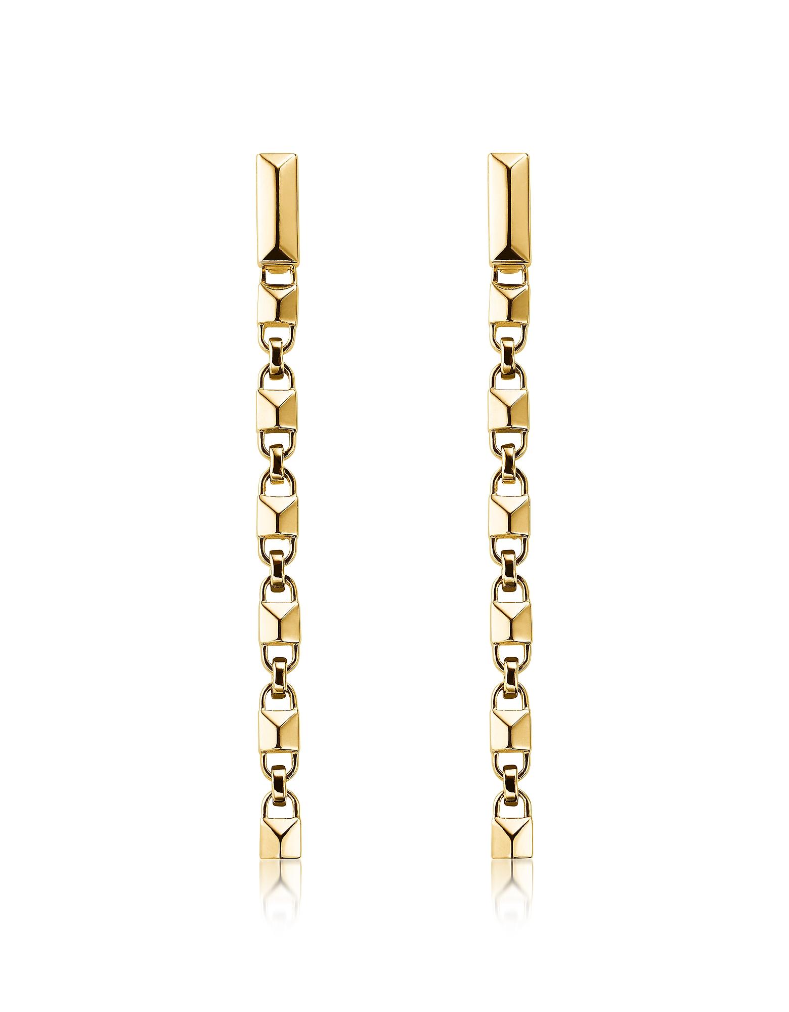 Mercer Link 14K Gold Plated Sterling Silver Linear Earrings