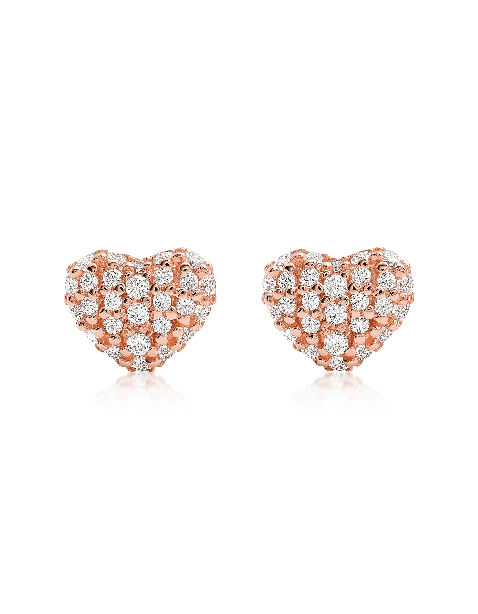 Heart 14K Rose Gold Plated Sterling Silver Pavé Studs