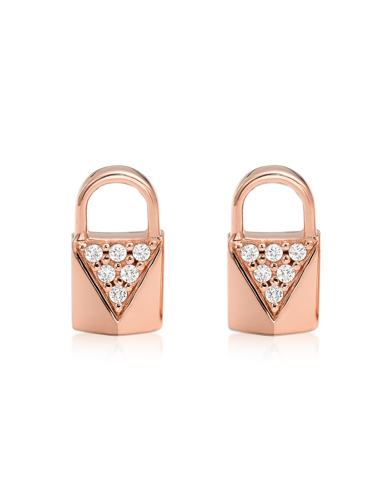 Mercer Lock 14K Rose Gold Plated Sterling Silver Pavé Studs
