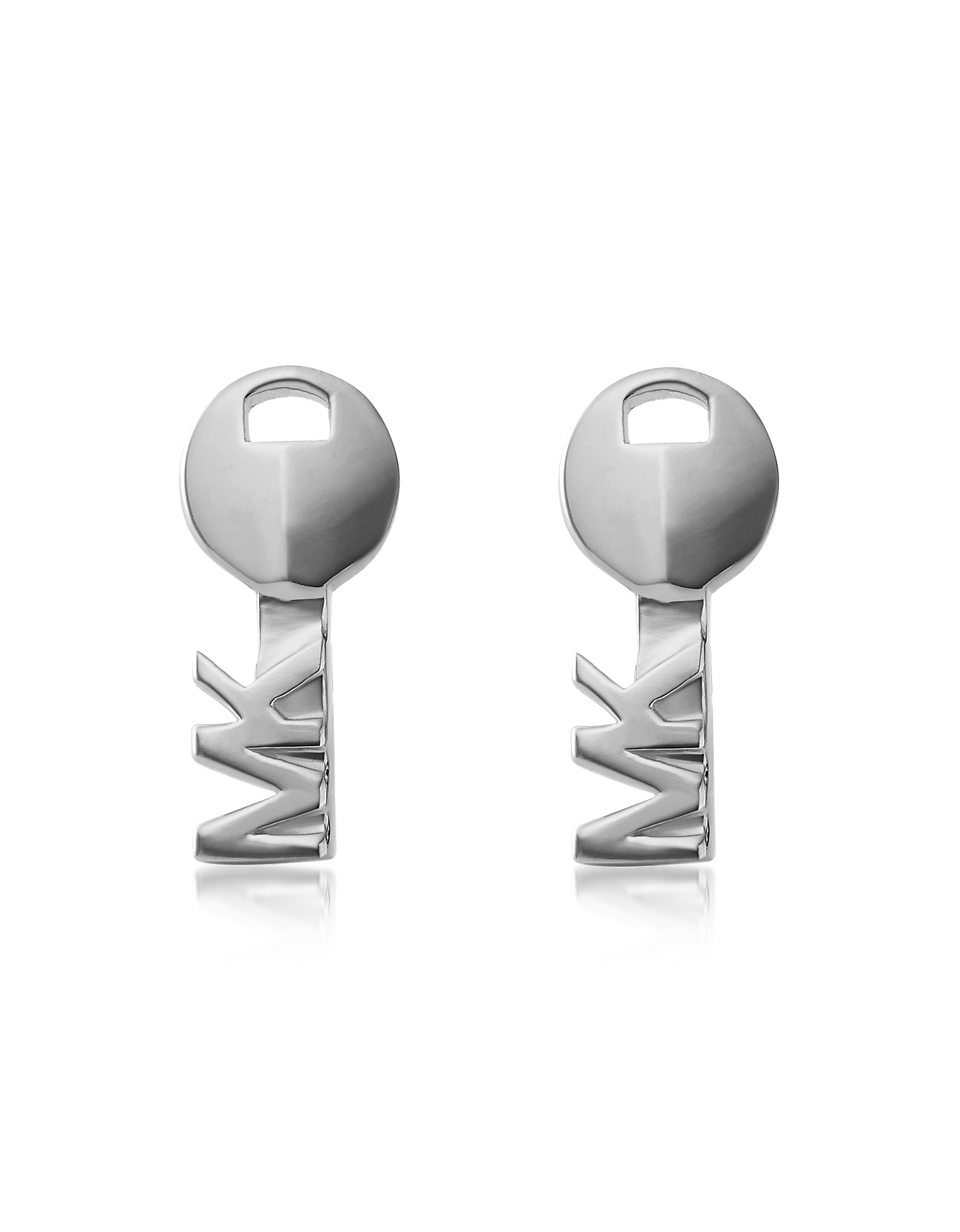 Key Rhodium Plated Sterling Silver Studs