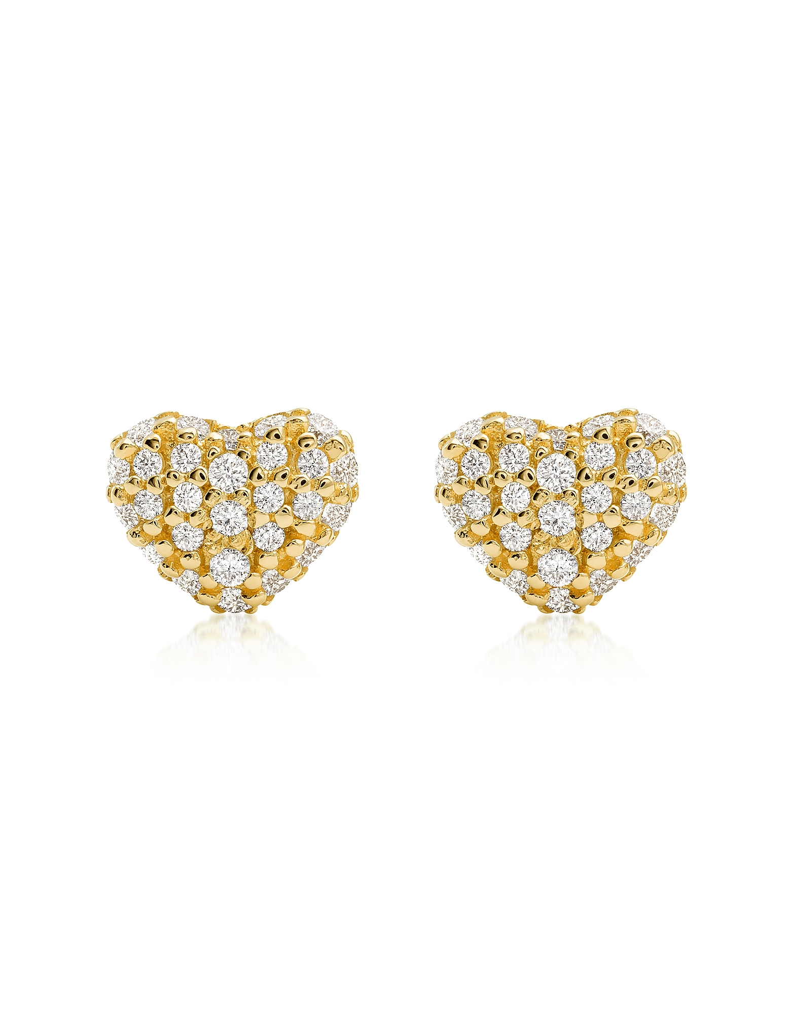 Heart 14K Gold Plated Sterling Silver Pavé Studs