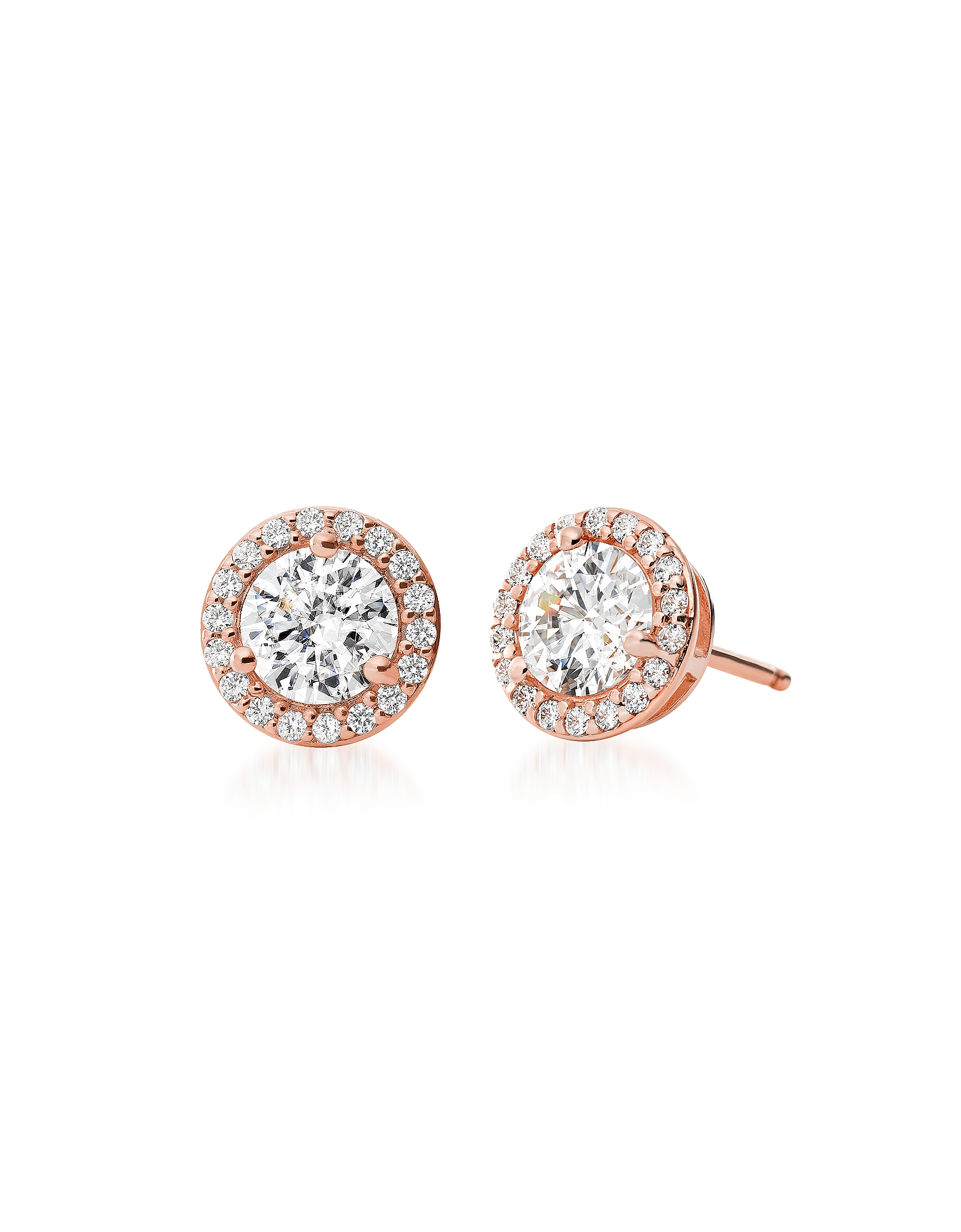 Rose Gold Plated Sterling Stud Pavé Earrings