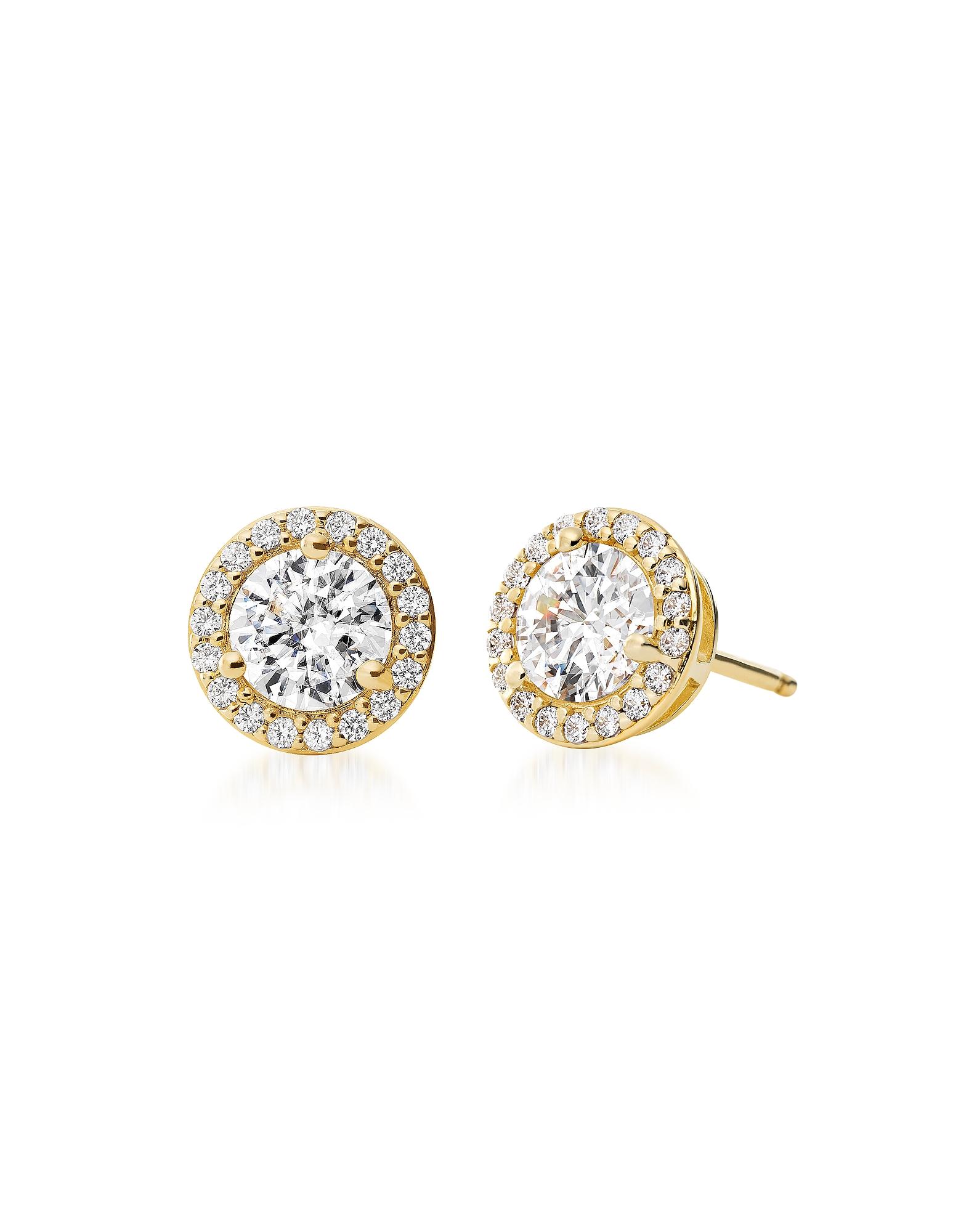 Круглые Серьги Гвоздики из Позолоченного Стерлингового Серебра с Кристаллами