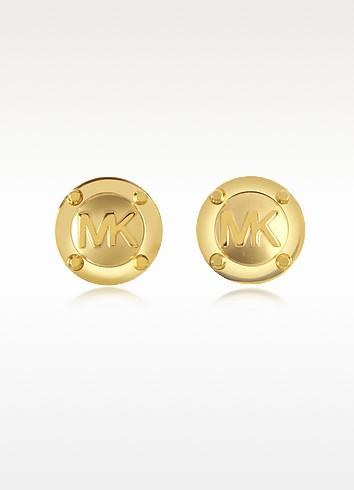 Heritage Signature Golden Stud Earrings - Michael Kors