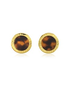 Heritage Logo Tortoise Acetate Gold-tone Stud Earrings - Michael Kors
