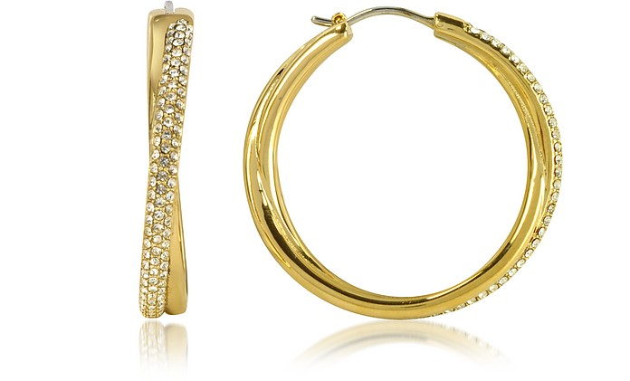 Gold Tone Metal Hoop Earrings w/Crystals - Michael Kors