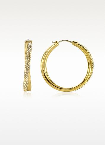 Gold Tone Metal Hoop Earrings w/Crystals - Michael Kors