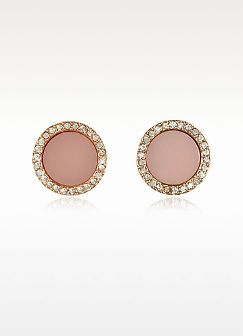 Heritage Rose Gold Stud Earrings w/Crystals - Michael Kors