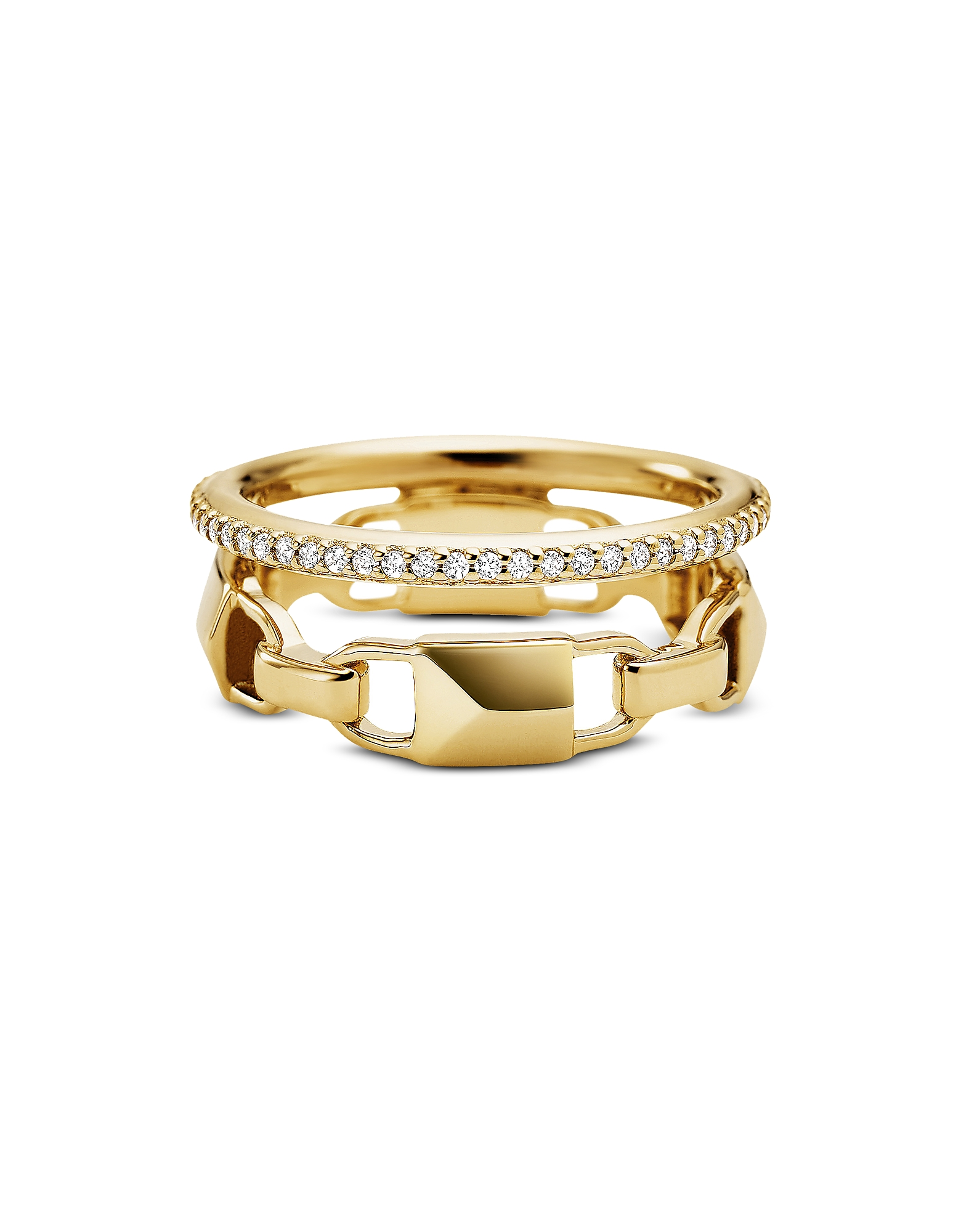 Mercer Link Gold Plated Sterling Silver Pavé Halo Ring