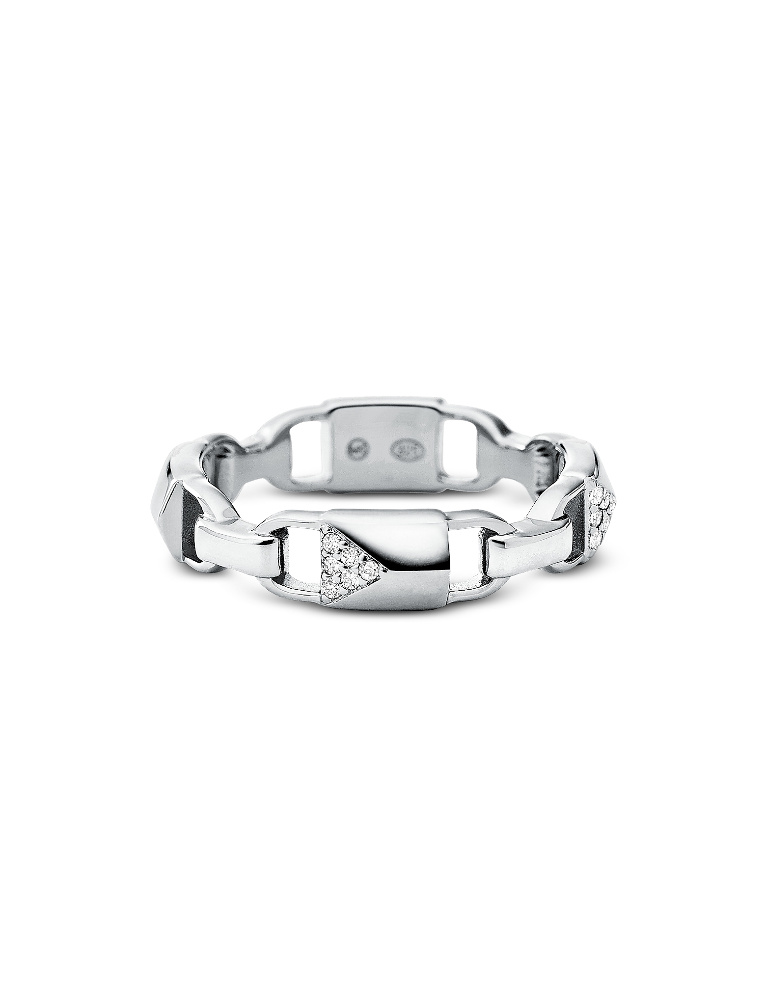 Plated Sterling Silver Pavé Mercer Link Ring