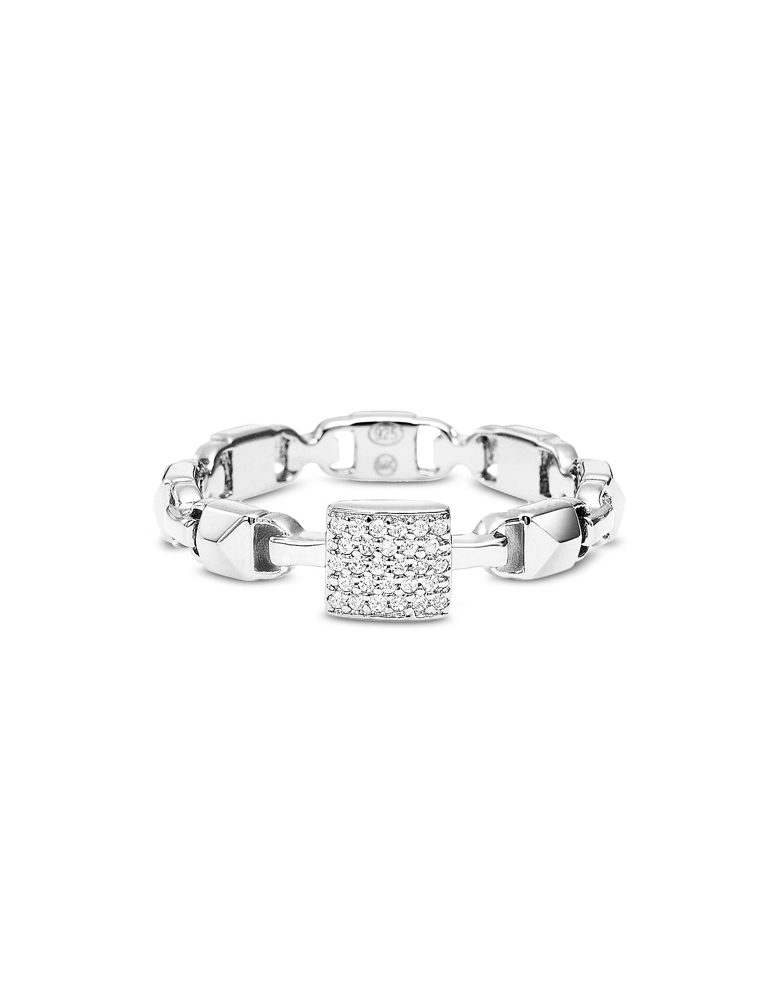 Michael Kors Designer Rings, Plated Sterling Silver Mercer Link Pavé Center Ring