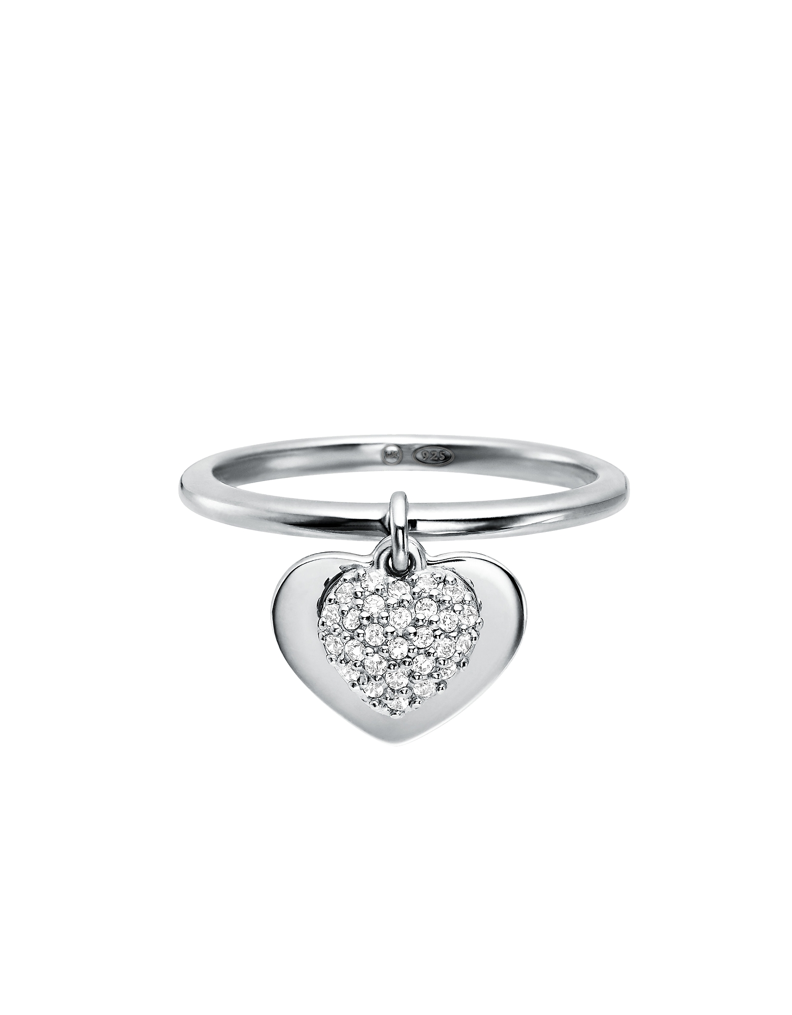 Kors Heart Plated Sterling Silver Pavé Ring