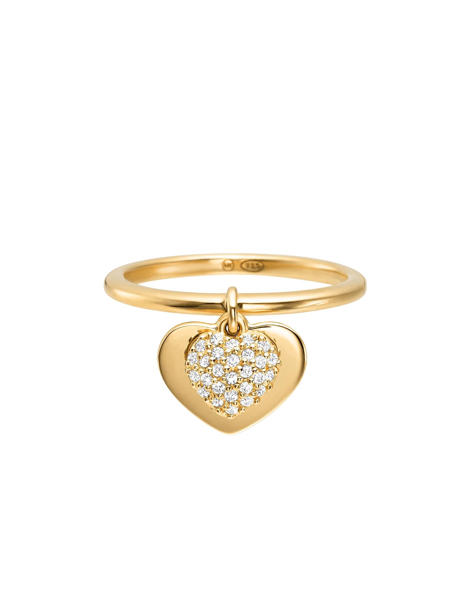 Kors - Кольцо с Сердцем из Стерлингового Серебра с Напылением Золота 14 карат