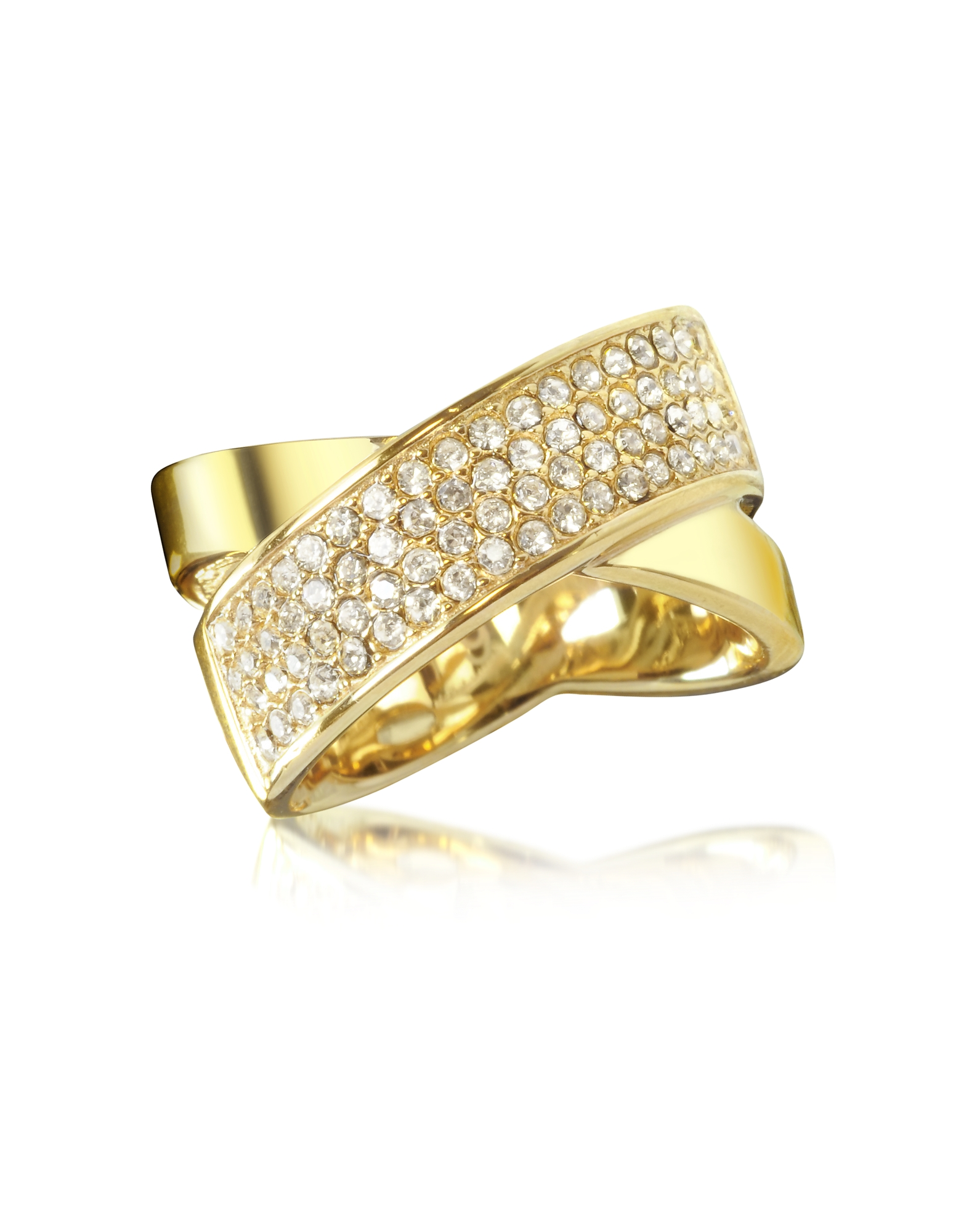 Michael Kors Rings, Golden Brass and Crystal Pave Women's Ring