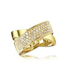 Damenring aus vergoldetem Brass mit Kristallen - Michael Kors