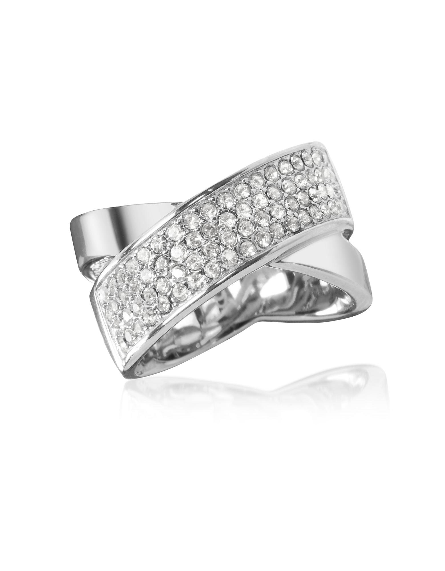 Женское Кольцо из Серебристой Нержавеющей Стали с Паве Кристаллов