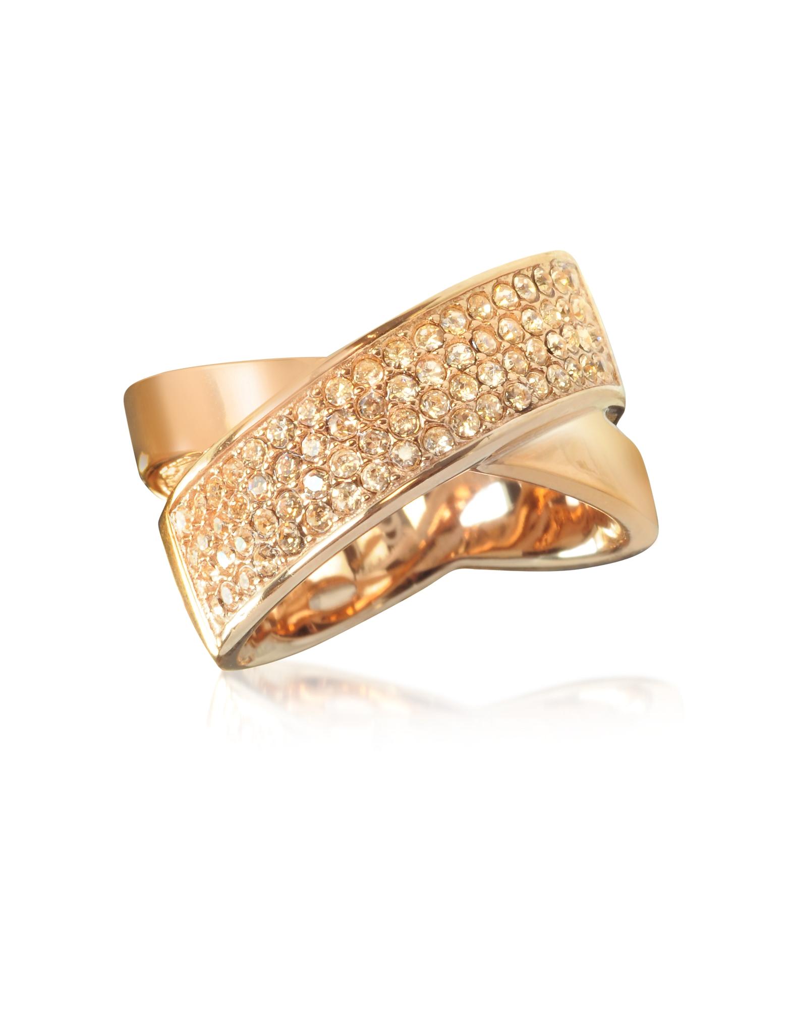 Женское Перекрещивающееся Кольцо из Нержавеющей Стали Оттенка Розового Золота с Паве Кристаллов