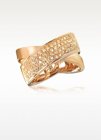 Pave-Crystal Twist Rose Golden Stainless Steel Women's Ring - Michael Kors