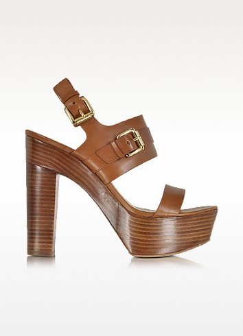 Beatrice Luggage Leather Platform Sandal - Michael Kors