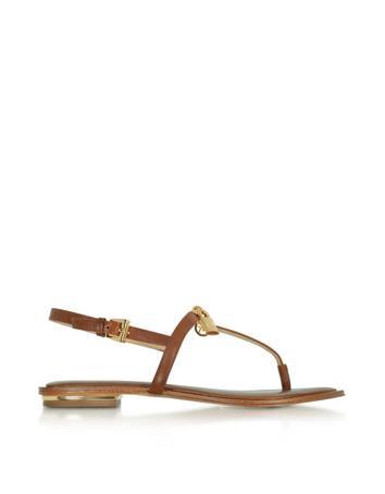 michael kors female luggage leather suki lock charm thong sandal