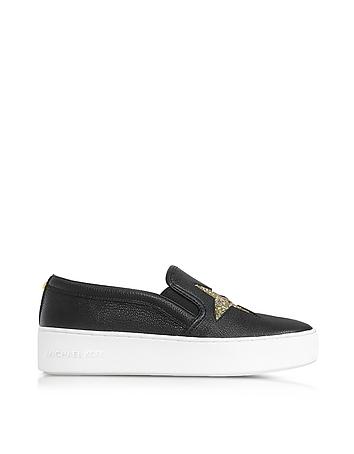 Michael Kors - Black Tumbled Leather w/Golden Glitter Stars Pia Slip on Sneakers