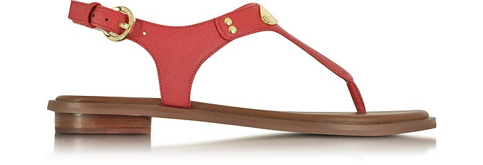 Watermelon Logo Plaque Leather Sandal - Michael Kors
