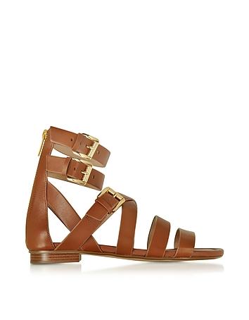 Jocelyn Luggage Leather Flat Sandal