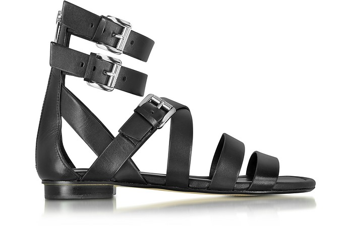 Jocelyn Black Leather Flat Sandal - Michael Kors