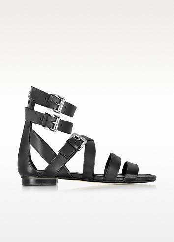 Jocelyn Black Leather Flat Sandal - Michael Kors