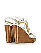 Holly Rope and Optic White Leather Wedge Sandal - Michael Kors