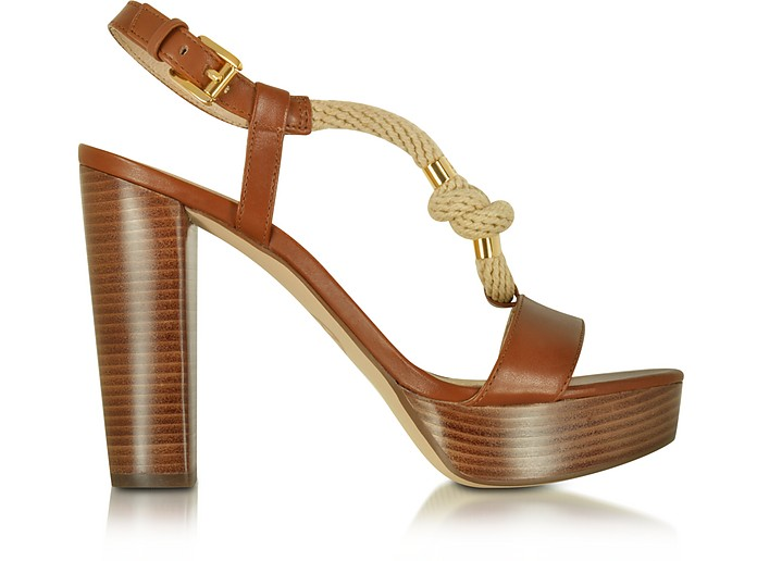 Holly Rope and Luggage Leather Platform Sandal - Michael Kors