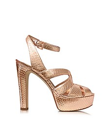 Winona Rose Gold Reptile Printed Leather Platform Sandal - Michael Kors