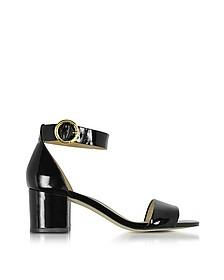 Lena Black Patent Leather Mid Heel Sandals - Michael Kors