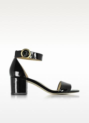 Lena Black Patent Leather Mid Heel Sandals - Michael Kors