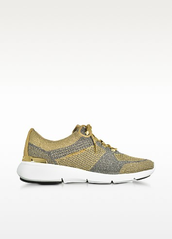 Skyler Pale Gold and Silver Metallic Knit Lace-up Trainers - Michael Kors