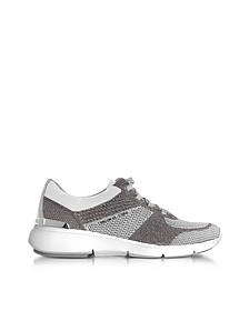 Skyler Silver and Optic White Knit Lace-up Trainers - Michael Kors