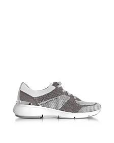 Skyler - Sneakers Basses Femme en Tricot Métallisé Argent/Blanc Optique - Michael Kors