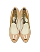 York Nude Patent Leather Platform Peep Toe Pump - Michael Kors