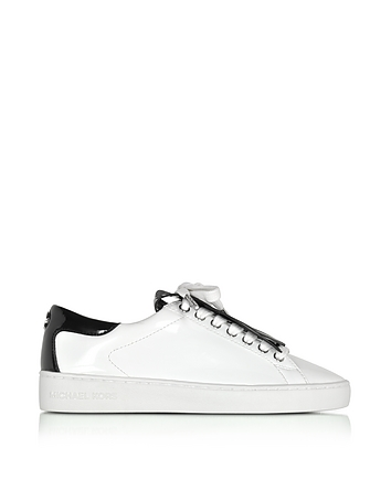 Michael Kors - Keaton Optic White and Black Patent Leather Sneaker