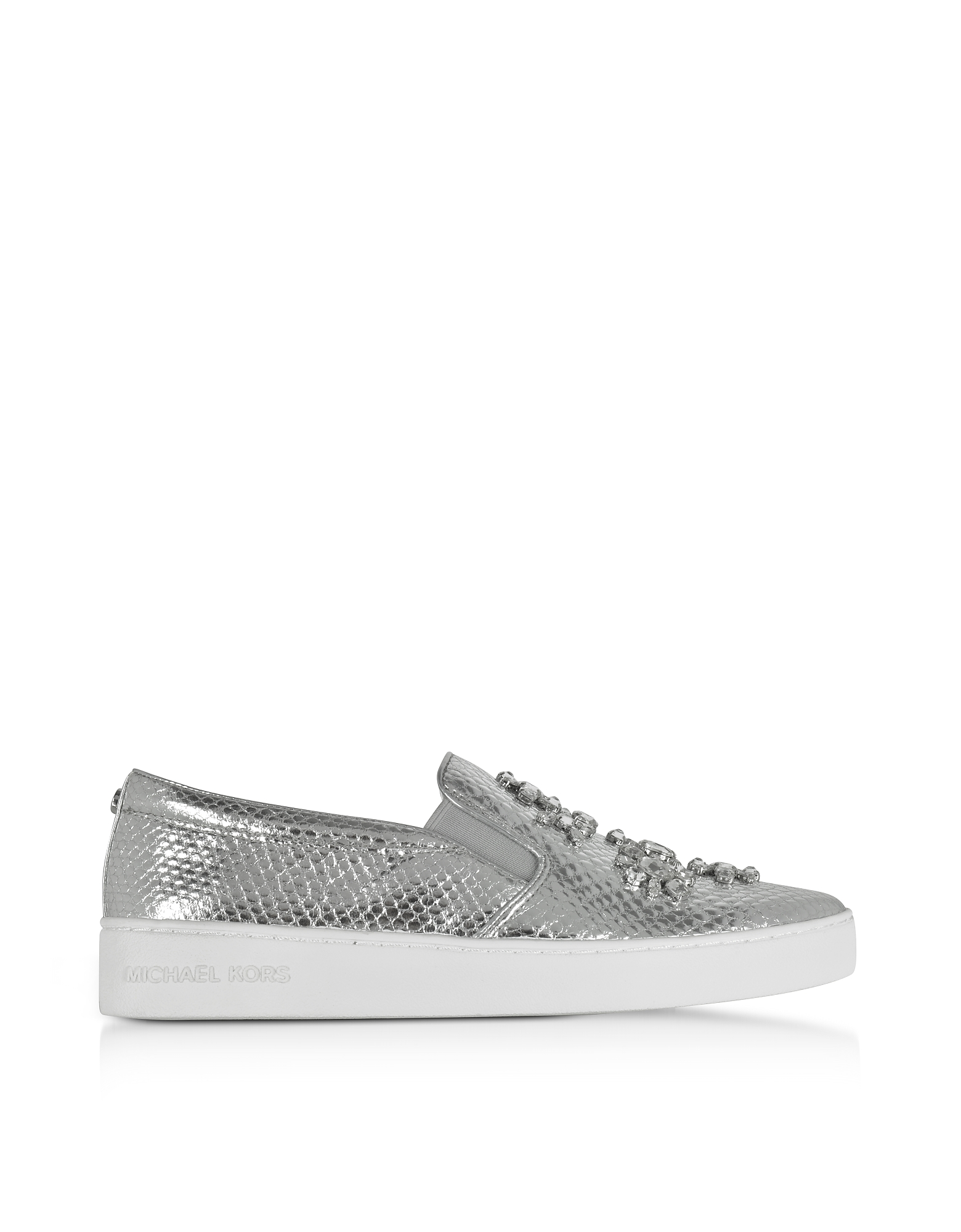 Michael Kors Shoes, Keaton Silver Metallic Embossed Snake Leather Slip On Sneakers w/Jewels