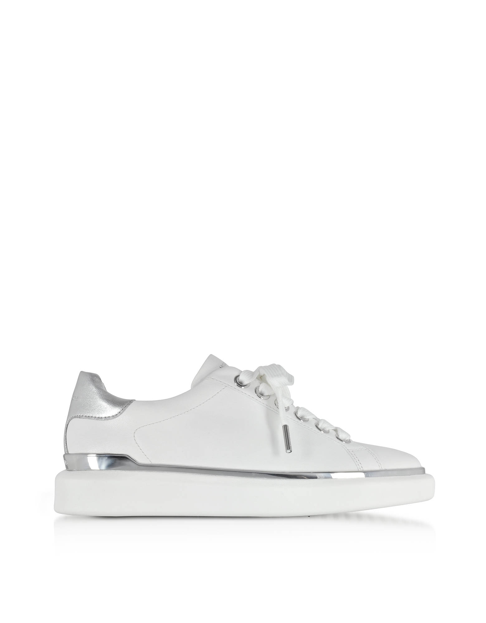 Michael Kors Shoes, Max Optic White Nappa Leather Lace Up Sneakers