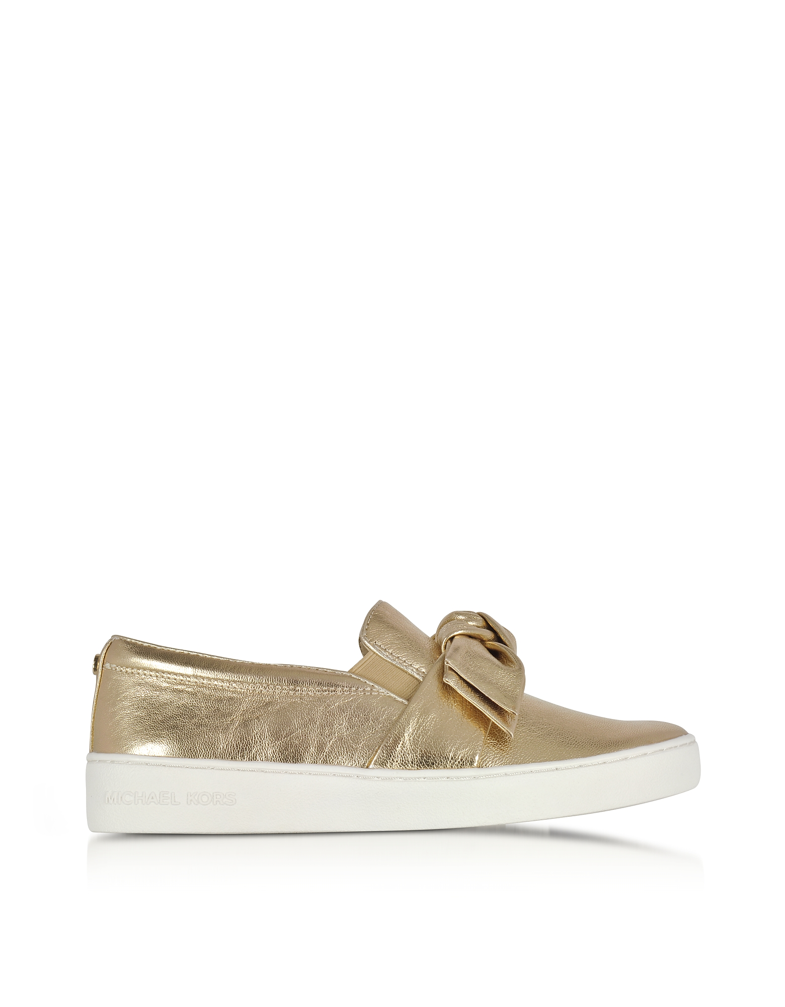 Michael Kors Shoes, Willa Pale Gold Metallic Nappa Leather Slip On Sneakers