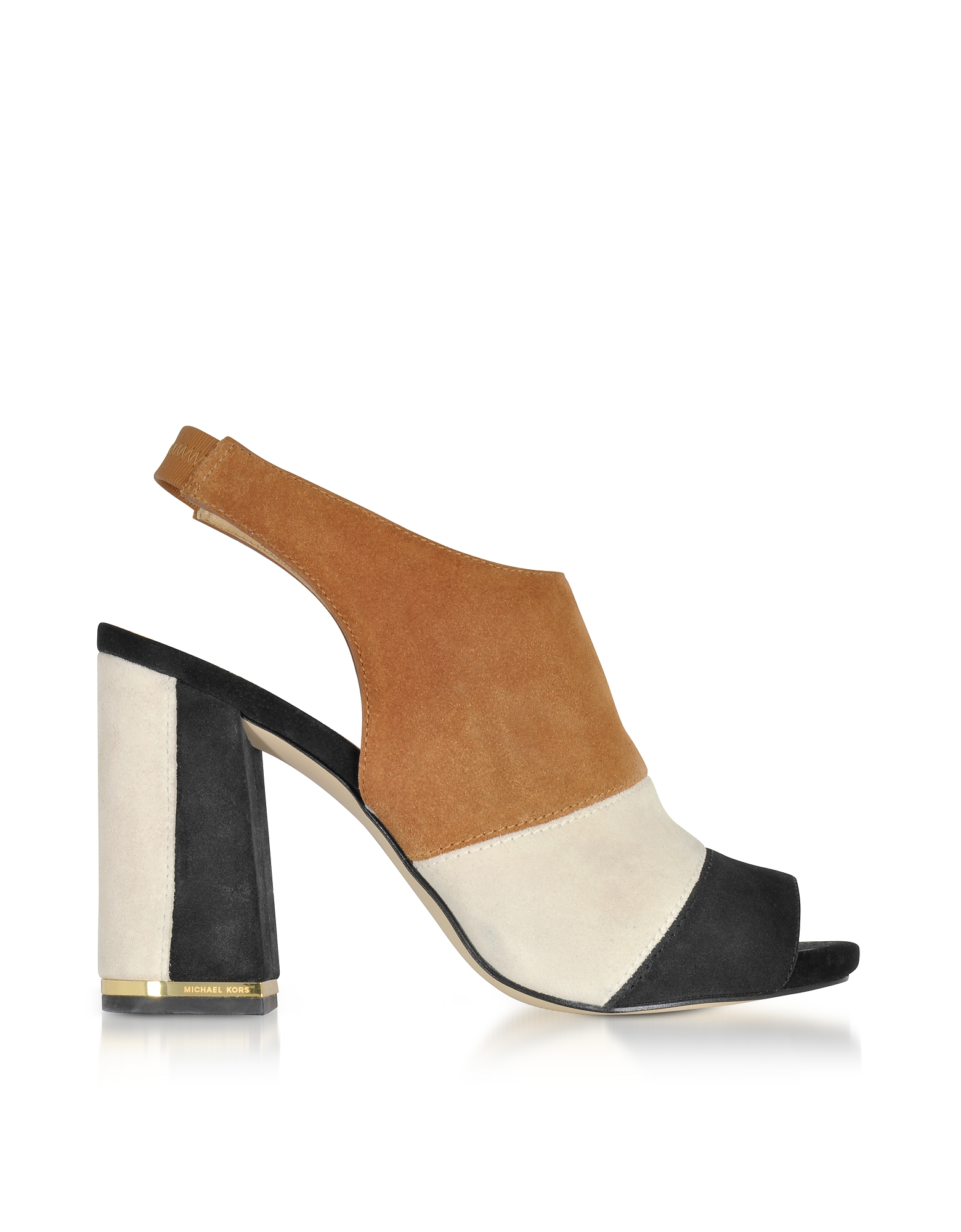 Michael Kors Shoes, Anise Black and Acorn Suede Open Toe Sandals