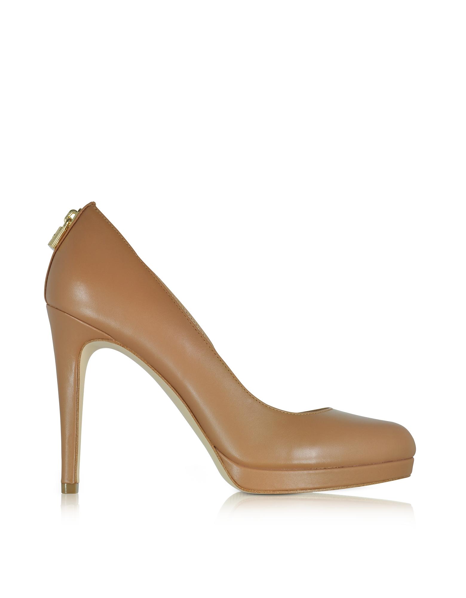 Michael Kors Shoes, Antoinette Acorn Leather Heel Pumps