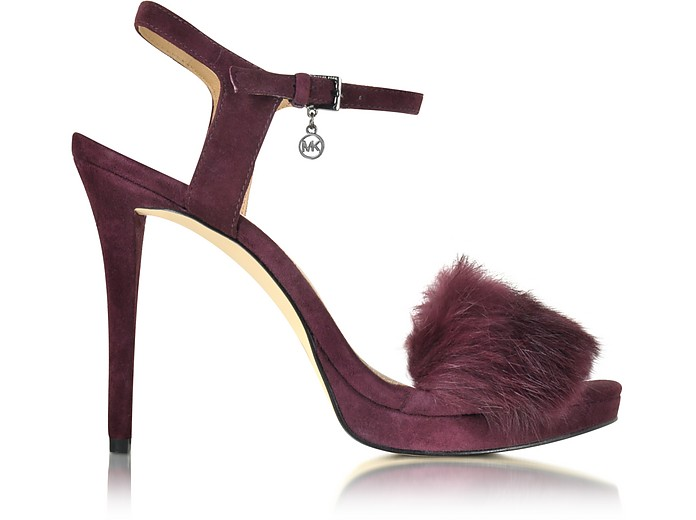 Faye Plum Suede and Fur Sandal - Michael Kors