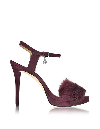 Faye Plum Suede and Fur Sandal