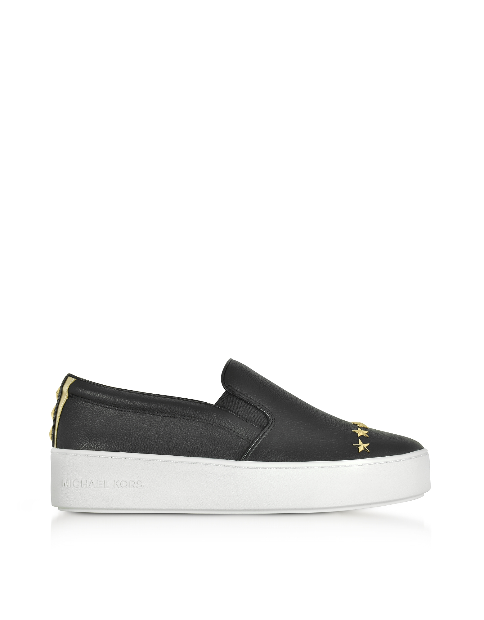 Michael Kors Shoes, Trent Black Leather Embellished Slip On Sneakers w/Goldtone Stars
