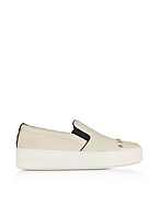Michael Kors Trent Optic White Leather Embellished Slip On Sneake bei Forzieri