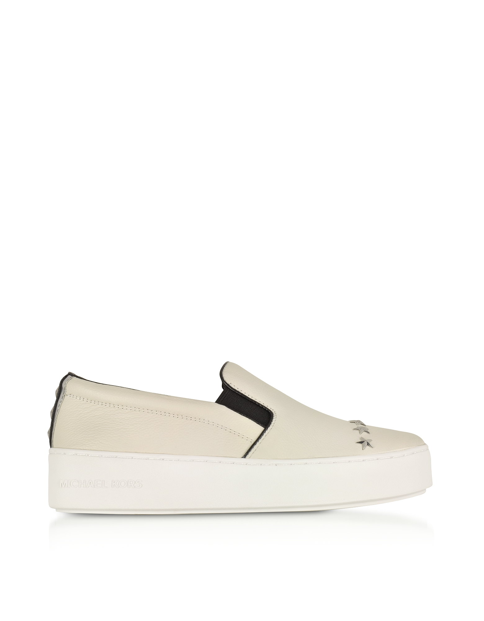 Michael Kors Trent Optic White Leather Embellished Slip On Sneakers w/Silvertone Stars